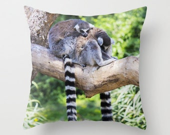 Photo Pillow Pillow cover Throw pillow Cushion covers Pillow case Accent pillow Couch pillow Decorative pillows Animal Photo Lemur 16x16