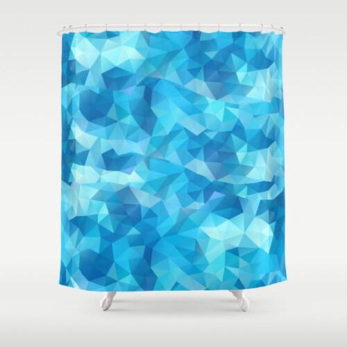 Poly Blue Shower Curtain Geometric Art Curtain Bathroom Decor