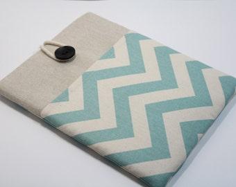 Ipad mini 3 Sleeve Chevron Teal IPad mini 3 Cover IPad mini 3 Case Handmade iPad mini 2 Sleeve with Pocket-Chevron Teal