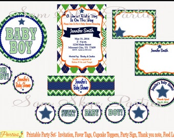 Argyle and Chevron Baby Shower Printable Set, Invitation, Banner, Favor Tags, Cupcake Toppers, Party Sign, Water Bottle Labels