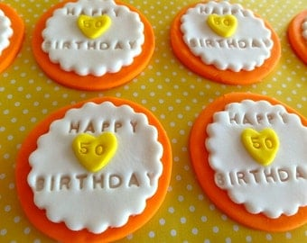 12 Fondant edible cupcake/cookie toppers - Happy Birthday, fondant heart, love, family
