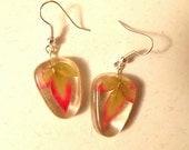 Real Pressed Leaf Nandina Autumn Resin Drop Earrings