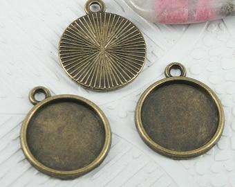 40pcs antiqued bronze color round shaped cabochon settings EF0732