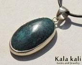 Spidrweb Tibetan Turquoise cabochon Sterling Silver pendant