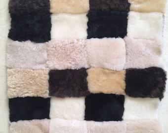 Cozy patchwork sheepskin seat pad