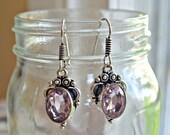 Vintage pink quartz earrings dusty rose victorian sterling silver earrings light pink gemstones dangle hook oval cut quartz earrings