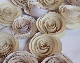 Paper Flower Garland ivory garland Wedding Garland. Ivory and black garland.