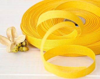 "Marigold Cotton Ribbon - 3 or 6 Yards of 100% Cotton Ribbon - 1/2"" wide - Yellow Cotton Ribbon - Loose Weave Ribbon - Eco Friendly Ribbons"
