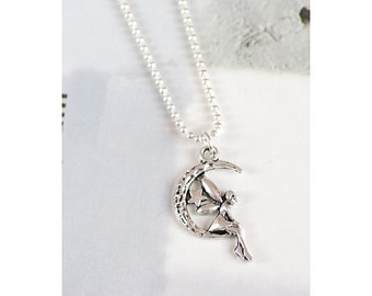 Unique Antique/Tibetan Silver Fairy in the Moon Charm Pendant with 1.5mm silver Plated Fine Ball Chain Necklace
