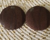 Thin Mint Brown Suede and leather covered button earrings
