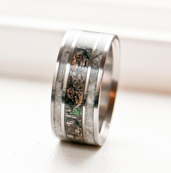 Mens Wedding RIng Camo with Antler Ring