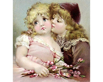 Fabric Block Children Brother Comforts Crying Sister Repro Brundage Image