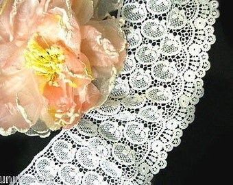 DN364-4 inch White flowers Venise Lace Trim by yard