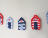Crochet Pattern Beach Hut Bunting Garland INSTANT DOWNLOAD PDF, uk and us versions No30