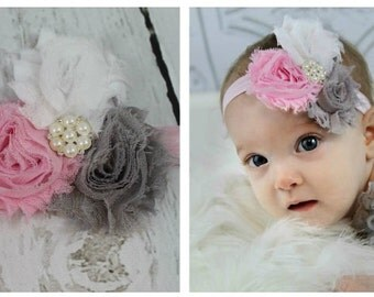 Baby Headband Pink Grey White Shabby Chic Flower Headband for Newborn - Infant - Toddler - Girls - Baby - Photo Prop