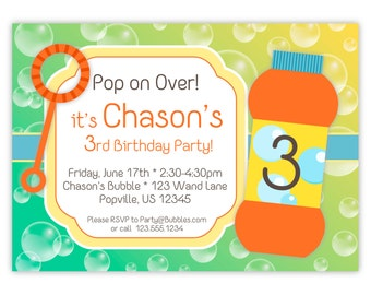 Bubble Invitation - Teal Green and Yellow Bubbles, Fun Orange Blowing Bubbles Personalized Birthday Party Invite - a Digital Printable File
