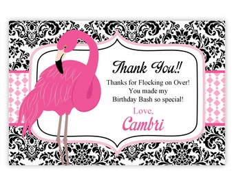 Flamingo Thank You Card -  Black Damask, Pink Polka Dots, Pink Flamingo Personalized Birthday Party Thank You - a Digital Printable File