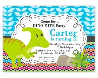 Dinosaur Invitation - Colorful Chevron, Blue Plant Leave, Little Lime Green Dino Personalized Birthday Party Invite - Digital Printable File