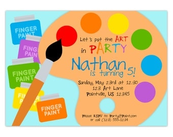 Art Party Invitation - Rainbow Paint Pallet, Little Artist Paint Brush Paint Set Personalized Birthday Party Invite - Digital Printable File