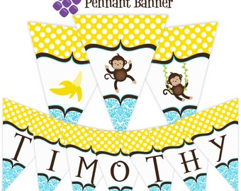 Mod Monkey Pennant Banner - Blue Damask, Yellow Polka Dots, Cute Banana Monkey Personalized Birthday Party Banner - A Digital Printable File