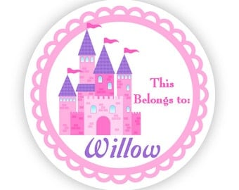 Name Label Stickers - Little Pink Purple Fairytale Princess Castle Personalized Name Tag Sticker - Round Tags - Back to School Name Labels