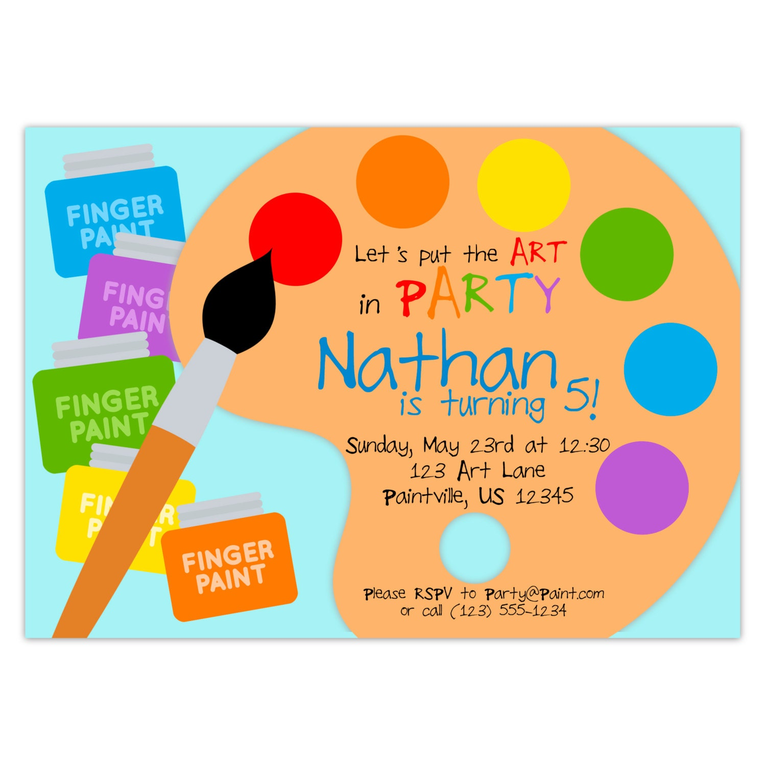 Art Party Invitation Rainbow Paint Pallet Little Artist