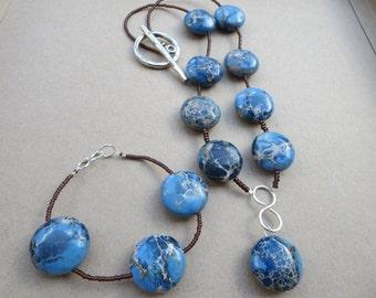 Necklace and Bracelet Set, Blue Marbled Statement Jewellery Set, Gemstone Jasper Necklace Bracelet, Handmade Jewellery