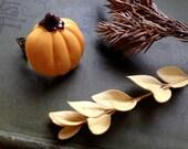 Thanksgiving pumpkin adjustable ring
