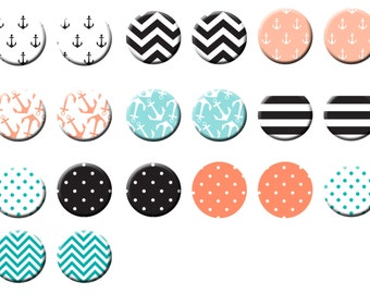 Nautical Theme Birthday Party Favors 1 inch Pinback button or Flatback Button