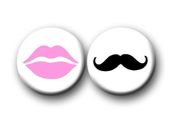 Gender Reveal Party Favors 1 inch Pinback Buttons or 1 inch Flatback Button pink Lips Black Mustache