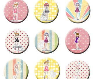 """15 Shopping girl Love to shop theme 1"""" inch  flat back Or pinbback Party Favor Buttons"""
