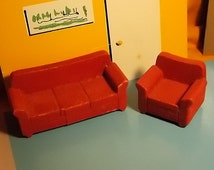 """Dollhouse Sofa Set -  Strombecker Red Flocked Sofa & Chair  - 3/4"""" Scale"""