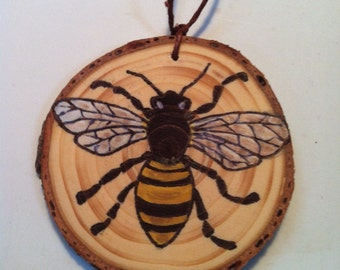 Handmade Wooden Ornament Made From A Recycled Christmas Tree Honey Bee Save The Bees