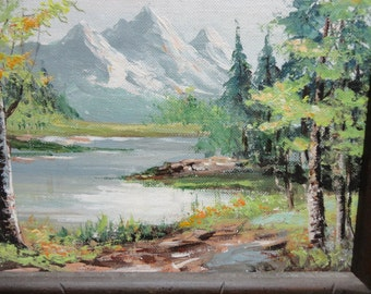 Vintage Handpainted Mountain Scene Signed and Framed
