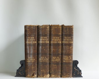 COMPLETE SET! - Rare Antique Books - The New Student's Reference Work - Four Volumes - 1909 - Shabby Chic