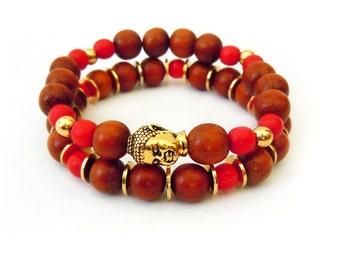 Wood Beaded Buddha Bracelet Set, Gold Bracelets, Gold Jewelry, Buddha Jewelry