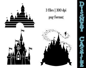 Disney Princess Castle Silhouettes // Castles Silhouette // Disney Clipart // Princess Silhouettes