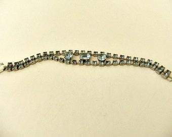 Rhinestone Link Bracelet Silver Tone Blue Stones