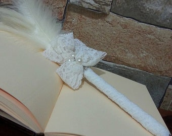 bride pen,bird feathered pen,ecru pen, wedding pen