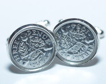 1934 Silver Threeepence Cufflinks 84th birthday.  Original Silver threepence coins Great gift from 1934 84th