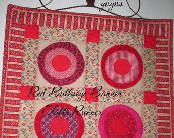 RED BULLSEYE BANNER Table Runner Country Cottage Chic Home Holiday Décor