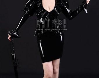 Fashion Lady Latex Dress with frills