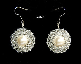 FREE SHIPPING Clear/Silver Statement Beadwoven Pearl/Seed Bead Earrings, Women's Beaded Fashion Jewelry, Bridal Accessory, OOAK Gift for Her