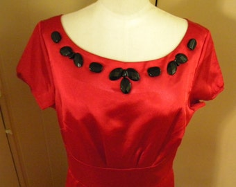 Vintage Red Satin Dress with Different Sizes of Black Buttons