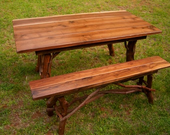 Rustic Walnut Dining Table and bench set Log Cabin Adirondack Furniture by J. Wade