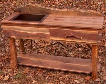 Rustic Handmade Walnut Kitchen or Bath Sink Island Unit with shelf Log Cabin Furniture by J. Wade