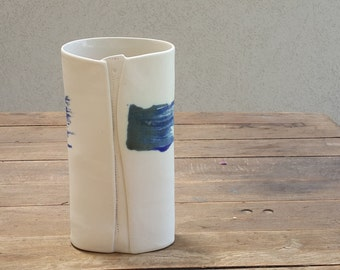 Ceramic Handmade Vase with Blue Brush