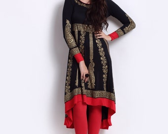 Women Black & Gold Printed Anarkali Kurta (All size's Available for Valentine Lover's)