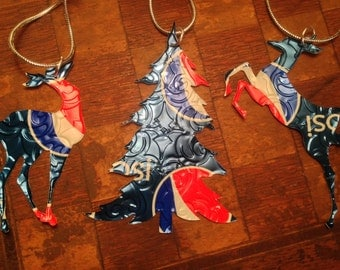 Recycled Pepsi Soda Can 3-Piece Christmas Ornament Set