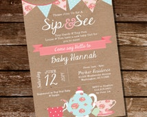 Shabby Chic Sip and See Invitation - Meet The Baby Invitation - Instant Download and Editable File - Personalize at home with Adobe Reader